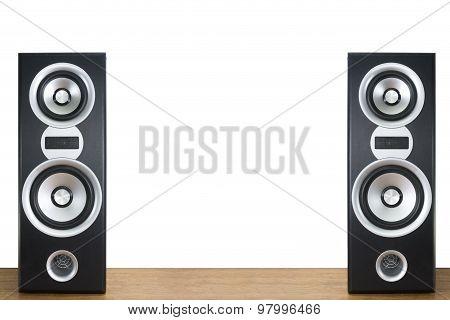 Loudspeaker On Wood Floor