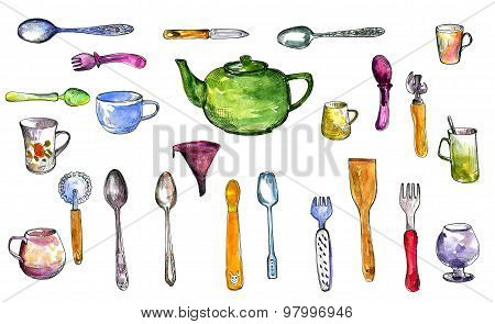 set of  kitchen utensil