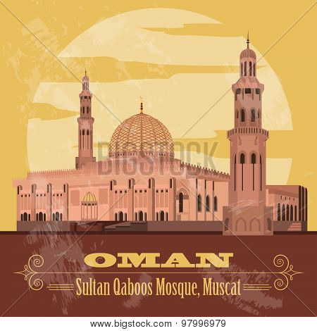 Sultanate of Oman landmarks. Retro styled image. Sultan Qaboos Mosque in Muscat.