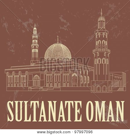 Sultanate of Oman landmarks. Retro styled image. Sultan Qaboos Mosque in Muscat