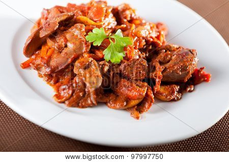 Chicken Livers With Tomato Sauce