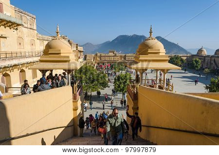 Jaipur, India - December 29, 2014: Tourists Visit Amber Fort In Jaipur, Rajasthan