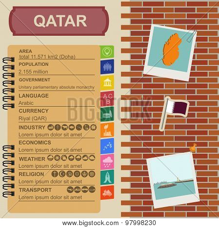 Qatar infographics, statistical data, sights. Fort Umm Salal Mohammed.  Vector