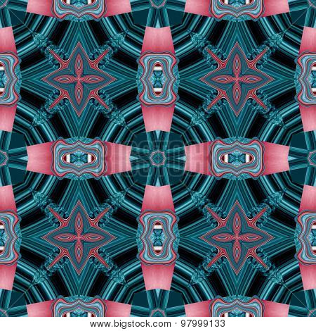 Seamless Kaleidoscopic Pattern In Red And Blue