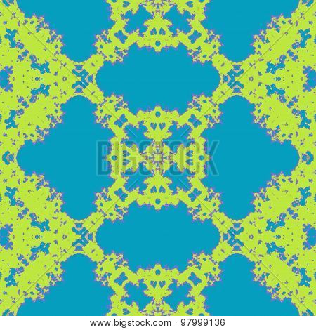 Seamless Mosaic Grid Pattern In Blue And Green