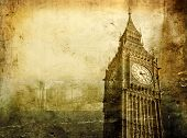 stock photo of big-ben  - Vintage view of Big Ben in London - JPG