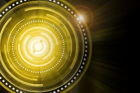 picture of time machine  - Abstract gold lighting cog time - JPG