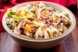 foto of mandarin orange  - chicken and mandarin orange summer salad with toasted almonds - JPG