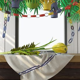 image of sukkot  - Symbols of the Jewish holiday Sukkot with palm leaves - JPG