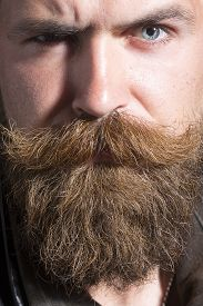 pic of long beard  - Closeup of attractive serious unshaven male expressive face with long beard and handlebar moustache looking forward on workshop background vertical picture - JPG