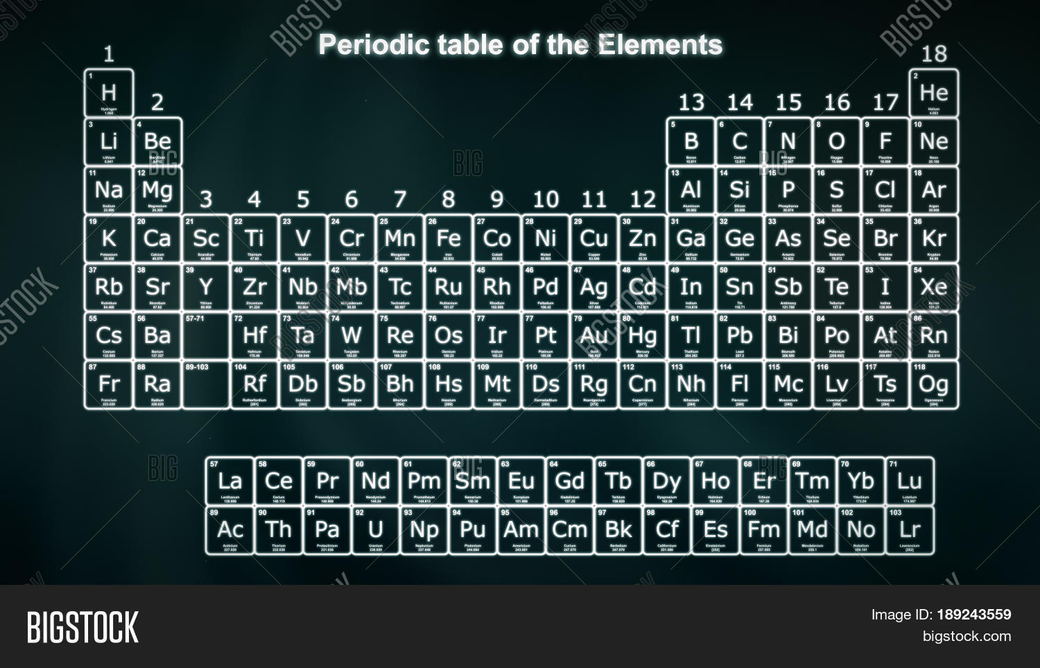 Periodic table elements white on image photo bigstock periodic table of the elements in white on a dark green background modern version of gamestrikefo Choice Image