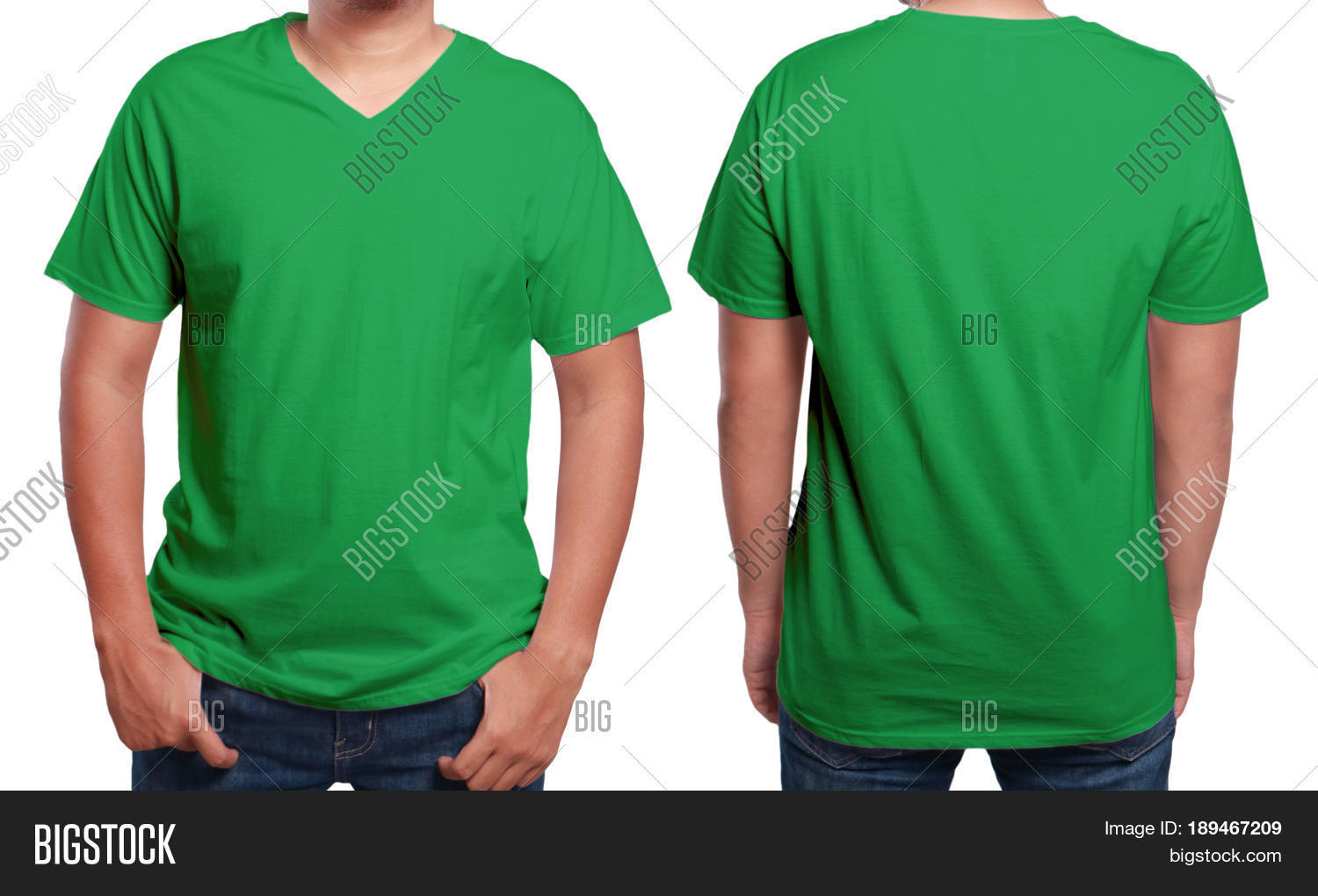 Green t shirt mock front back view image photo bigstock for T shirt mockup front and back