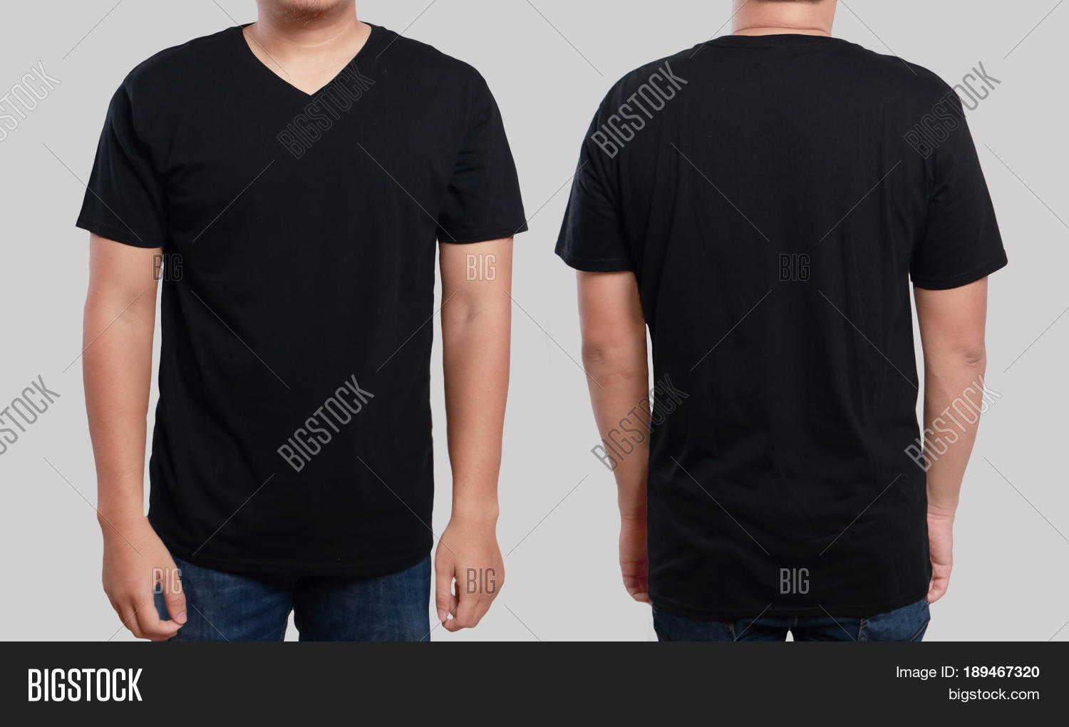 Blank black t shirt front and back - Black T Shirt Mock Up Front And Back View Isolated Male Model Wear Plain