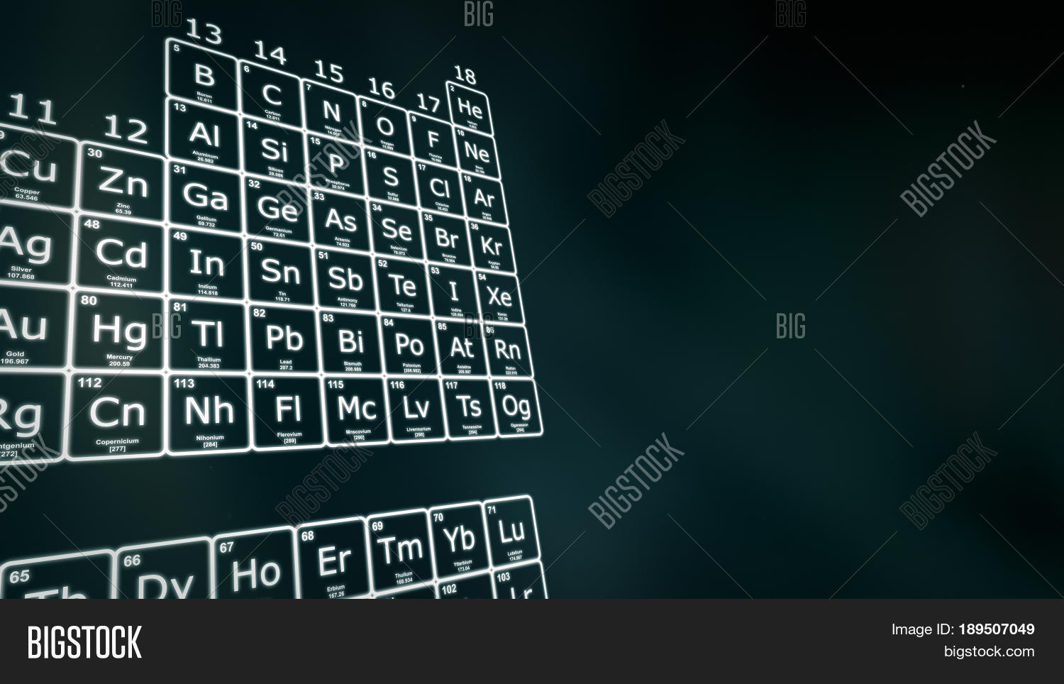 Periodic table elements white on image photo bigstock periodic table of the elements in white on a dark green background modern version of gamestrikefo Gallery
