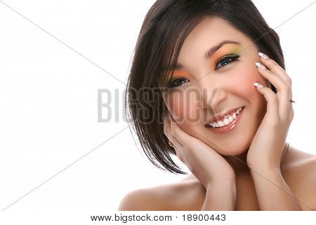 attractive young woman isolated on white and smiling to the camera