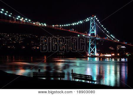 Night scene of Lions Gate Suspension Bridge Gateway, Vancouver Canada