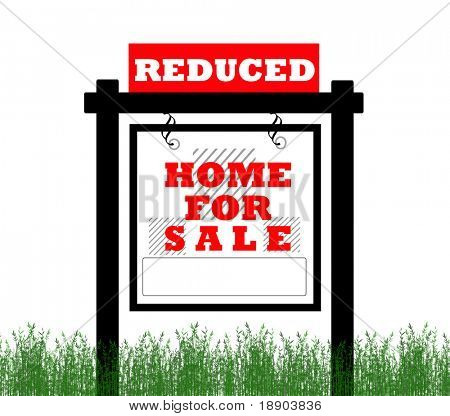 Real Estate home for sale sign, price reduced
