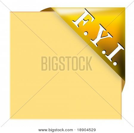 Golden corner ribbon with FYI for your memo