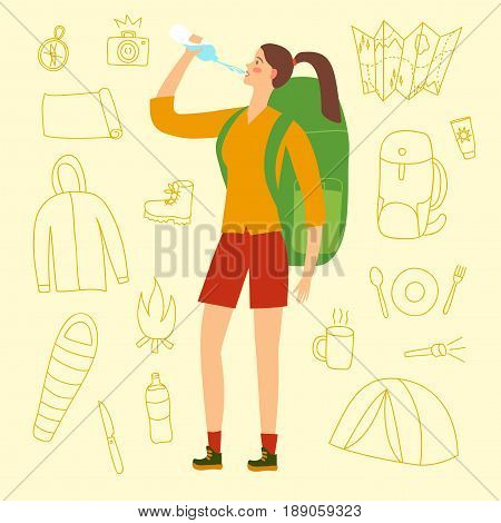 Cartoon traveler girl with a large backpack drinking water. Including doodle drawings as flashlight camera  sc 1 st  Bigstock & Cartoon Traveler Girl Large Vector u0026 Photo | Bigstock