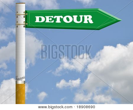 Detour cigarette road sign