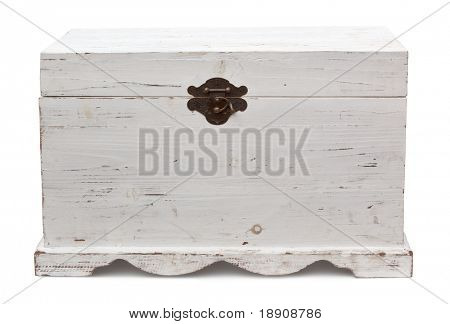 Old wooden trunk, closed.  Distressed painted finish.  Clipping path included.