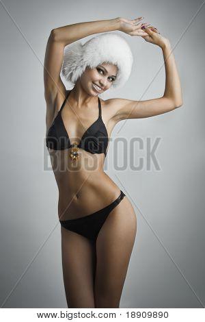 Beautiful slim woman in underwear