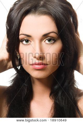 Close-up portrait of a gorgeous woman
