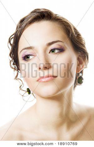Studio portrait of a young brunette