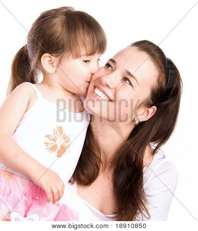 Lovely girl kissing her mother