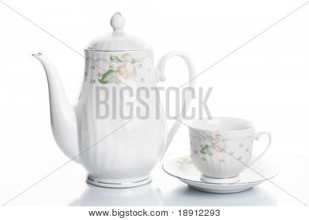 crockery over white background