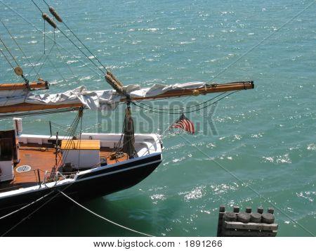 Docked Schooners Stern