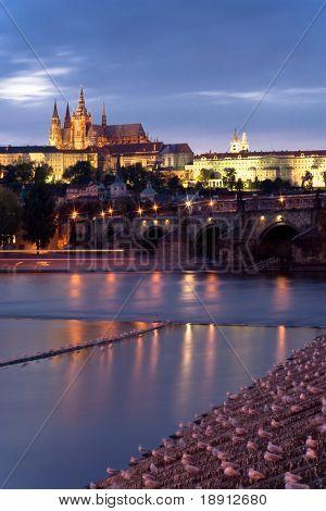 Prague. Night-view on Hradcany and Karluv (Charles) bridge