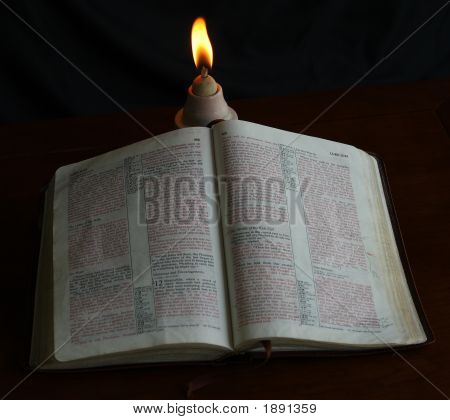 Bible Under Old Lamp