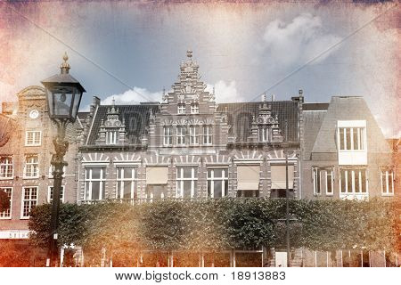 views of old Dutch city of Delft made in artistic retro style