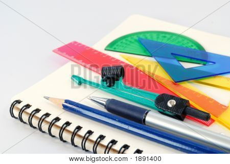 Notepad,Pen, Ruler And Setsquare