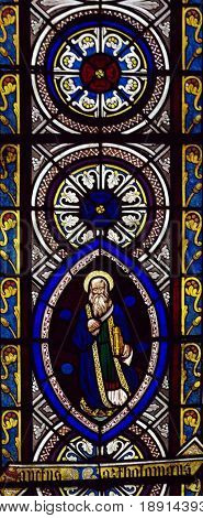 Window picturing St. Bartholomew in Chetwode Parish Church (former Abbey) in Buckinghamshire, England