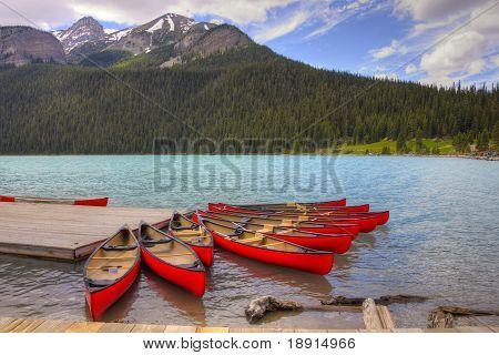 Canoes On Beutiful Lake Louise