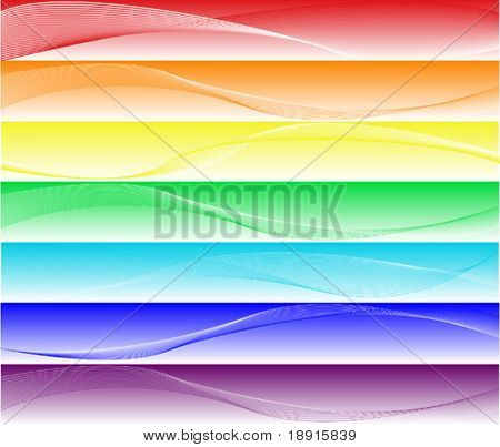 seven different elegant and smooth banners or web site headers in rainbow colors