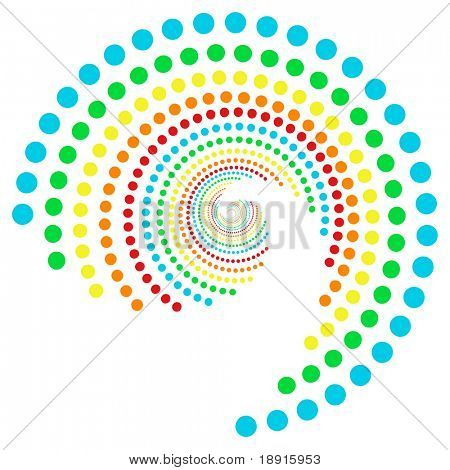 spiral rainbow dots pattern, isolated over white