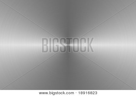 circular brushed silver metallic background with central, horizontal highlight
