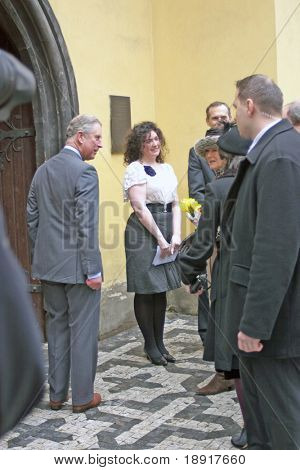 PRAGUE - MARCH 21: Prince Charles, Duchess Camilla arrive March 21, 2010 for worship at St. Clements Anglican-Episcopalian Church, Prague, Czech Republic and are greeted by members of congregation.