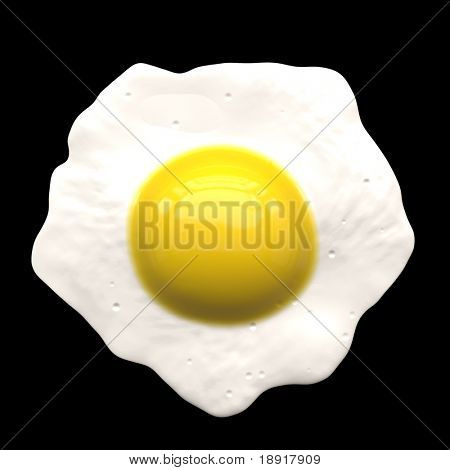 Perfect fried egg, isolated over black.