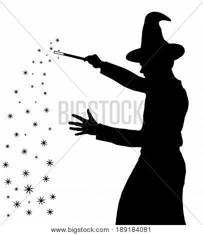 Silhouette Of Teenage Boy Wizard