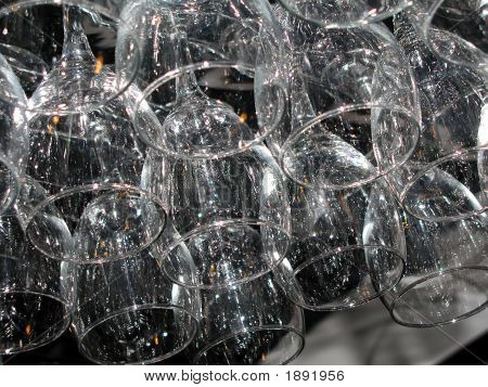 Close Up Of Hanging Wine Glasses