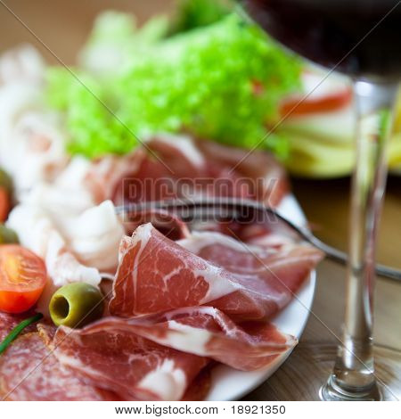 Close up of italian coppa