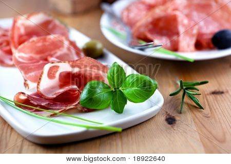 Coppa with fresh herbs