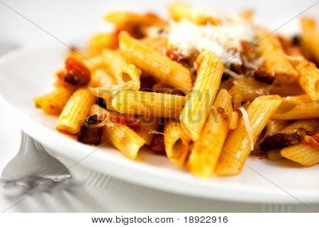 Penne with pancetta and parmesan