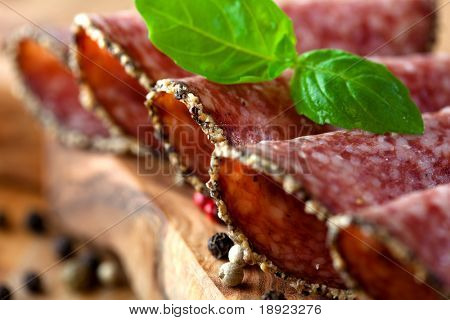 Salami with peppercorns