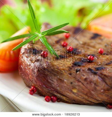 Gourmet grilled steak closeup