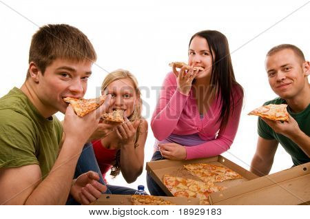 Friends having fun and eating pizza